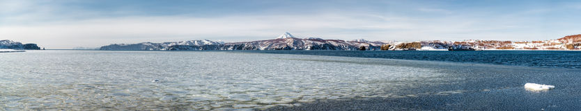 Beautiful panoramic view of wild nature of Kamchatka royalty free stock photo
