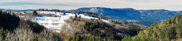 Beautiful panoramic view of winter mountain landscape Royalty Free Stock Photography