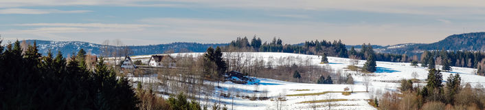 Beautiful panoramic view of winter mountain landscape Royalty Free Stock Photo