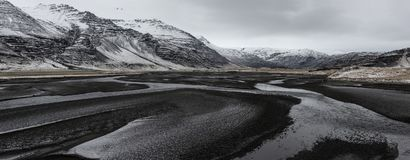 Beautiful panoramic winter landscape view of Iceland. Snow capped on the mountains Stock Photography