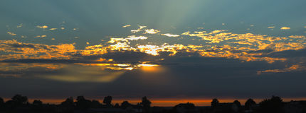 Beautiful panoramical sunset over the sleeping city Royalty Free Stock Image