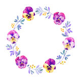Beautiful pansy flower watercolor wreath Stock Photos