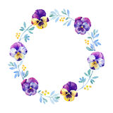 Beautiful pansy flower watercolor wreath Royalty Free Stock Photography