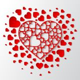 Beautiful  paper cut out heart with many small red hearts. Beautiful paper cut out heart with many small red hearts. Vector illustration Stock Photos