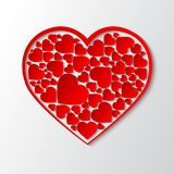 Vector paper cut out heart with red frame and with many small red hearts. Beautiful paper cut out heart with red frame and with many small red hearts. Vector Royalty Free Stock Photo