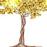 Beautiful paper, decorated with fairy tree and gold glitter. Vector Royalty Free Stock Images