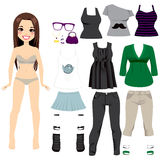 Beautiful Paper Doll Girl. Beautiful long hair brunette girl paper doll game with clothing set collection Royalty Free Stock Photography