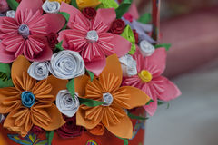 Beautiful paper flowers. Nice paper decoration, Handmade flowers Royalty Free Stock Photos