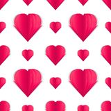 Beautiful paper heart on white background patter. Papercut. February 14. Seamless pattern of paper hearts. Idea for your design on the Valentines Day 2018 Stock Photos