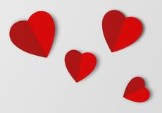 Beautiful paper hearts on grey paper background Stock Photography