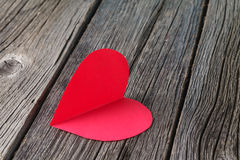 Beautiful paper hearts on rustic background Royalty Free Stock Photo