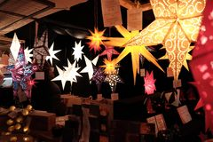 Beautiful paper lamps. Christmas decorations. stock photo