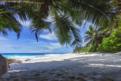 Beautiful paradise beach, anse bazarca, seychelles 14 Royalty Free Stock Photos