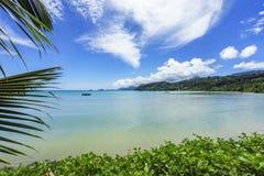 Beautiful paradise beach,white sand,turquoise water,palms, seych. Beautiful paradise beach anse bazarca on mahé. white sand,turquoise water,palm trees, granite Royalty Free Stock Photography