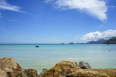 Beautiful paradise beach,white sand,turquoise water,palms, seych. Beautiful paradise beach anse bazarca on mahé. white sand,turquoise water,palm trees, granite Stock Photos