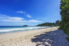 Beautiful paradise beach,white sand,turquoise water,palms, seych. Beautiful paradise beach anse bazarca on mahé. white sand,turquoise water,palm trees, granite Stock Image