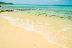 Beautiful paradise island with empty beach and sea Royalty Free Stock Images
