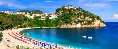 Greek holidays - sunny colorful Parga town with beautiful beache Stock Images