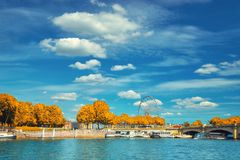 Beautiful Paris in Autumn, riverside by Concorde square Royalty Free Stock Photography