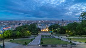 Beautiful Paris cityscape day to night timelapse seen from Montmartre. Paris, France. Beautiful Paris cityscape day to night transition timelapse seen from stock video footage