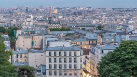 Beautiful Paris cityscape day to night timelapse seen from Montmartre. Paris, France. Beautiful Paris cityscape day to night transition timelapse seen from stock footage