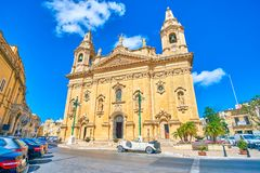 The beautiful Parish Church in Naxxar, Malta. The beautiful frontage of Parish Church of Our Lady of Victories in small town Naxxar, Malta stock photos