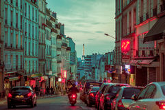 Beautiful parisian city street scene with Eiffel Royalty Free Stock Photography