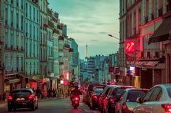 Beautiful parisian city street scene with Eiffel Royalty Free Stock Photography