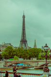 Beautiful parisian scene with Seine river and Eiffel Tower Royalty Free Stock Images