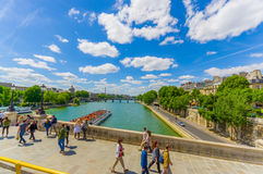 Beautiful parisian scene with Seine river Royalty Free Stock Images