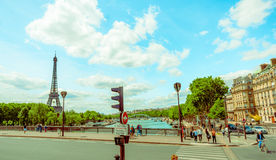 Beautiful parisian scene with Seine river Stock Photos