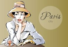 Beautiful Parisien woman sitting at street cafe with glass of wine. Dreaming girl in Paris city  illustration Royalty Free Stock Images