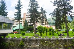 Beautiful park in the balneary resort with mineral thermal water Baile Olanesti. Romania, Valcea County, Baile Olanesti - 10.06. 2019 stock photo