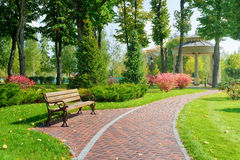 Beautiful park with bench. Sunny day in the park with bench and walkway Stock Image