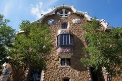Beautiful Park Guell Stone House. Photo of beautiful stone house at park guell in barcelona spain. This park was designed by architect antonio gaudi royalty free stock photography