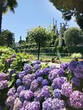 Isola Bella Gardens with Trees and Flowers and Lake View. Beautiful park on the island of Isola Bella in Lago Maggiore, Italy,Lombardy ,Northern Italy stock image