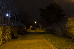 Beautiful park Letna in Prague at night Stock Photos