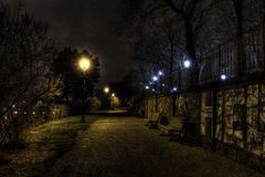 Beautiful park Letna in Prague at night in HDR Stock Photography
