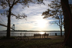 Beautiful park. Near Verrazano-Narrows Bridge royalty free stock image