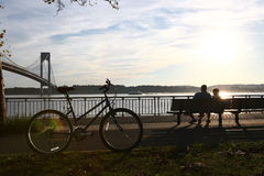 Beautiful park. Near Verrazano-Narrows Bridge stock image