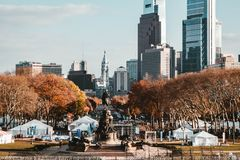 A beautiful park and a statue in NYC royalty free stock image