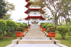 Beautiful park with traditional Chinese architecture Stock Image