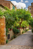 Beautiful park in the vintage town in Tuscany, Pienza Stock Photos