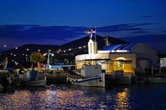 Beautiful part of the characteristic port of Naoussa in Paros royalty free stock photos