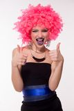 Beautiful party girl in pink wig Royalty Free Stock Photography