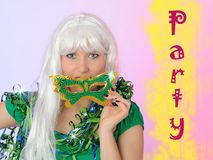 Beautiful party woman in carnival mask Royalty Free Stock Photos