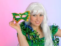 Beautiful party woman in carnival mask Royalty Free Stock Photo