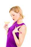 Beautiful party woman drinking champagne Royalty Free Stock Images