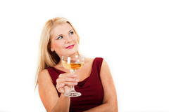 Beautiful party woman drinking champagne Royalty Free Stock Photos