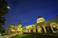 The beautiful Pasadena City Hall near Los Angeles, California. The beautiful night moon scene of Pasadena City Hall near Los Angeles, California Stock Images